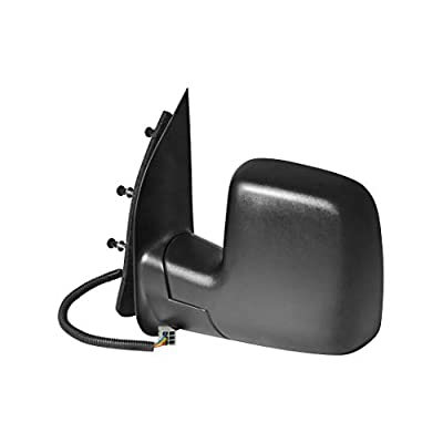Driver Side Textured Side View Mirror for 2010-2014 Ford Van E-150 E-250 E-350 E-450 Super Duty - Power Operated, Manual Folding - Parts Link #: FO1320396: Automotive
