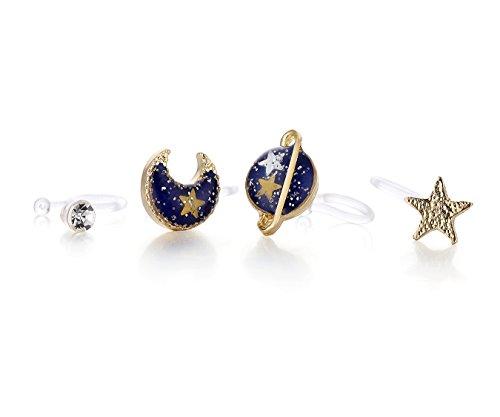 Nuwastone women's Mooon & Star & Planet Earring Set (Blue ear (Clip Earrings Fashion Jewelry)