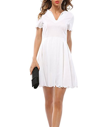 Weekendy Pure Color Dress V-Cou Manches Courtes Ptales Plisss Wavy Robe Grande Jupe Swing White