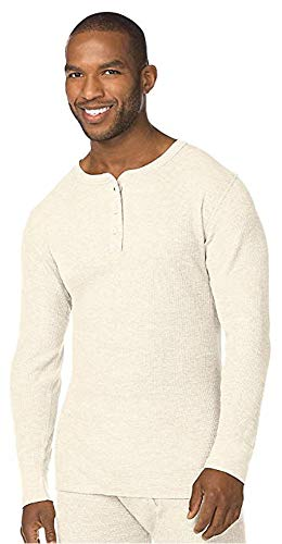 Hanes Tall Men's Big Red Label X-Temp Thermal Henley, Natural, 4X Large