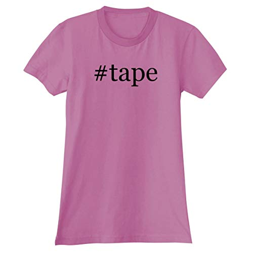 The Town Butler #Tape - A Soft & Comfortable Hashtag Women's Junior Cut T-Shirt, Pink, Medium