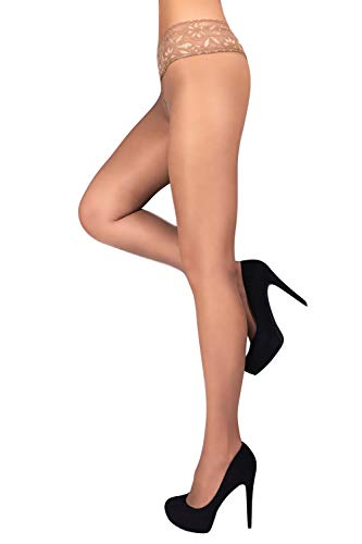 Low Waist Pantyhose Tights Sheer & Opaque Hipsters Silicone Band (Hipster Waist Low)
