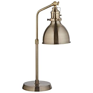 "Amazon Brand – Rivet Industrial Metal Adjustable Table Lamp, Bulb Included, 19""H, Antique Brass"