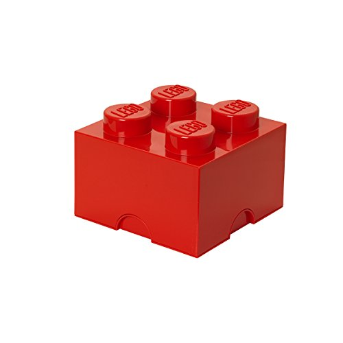 LEGO Brick 4 Knobs Stackable Storage Box, Red, 5.7 Litre