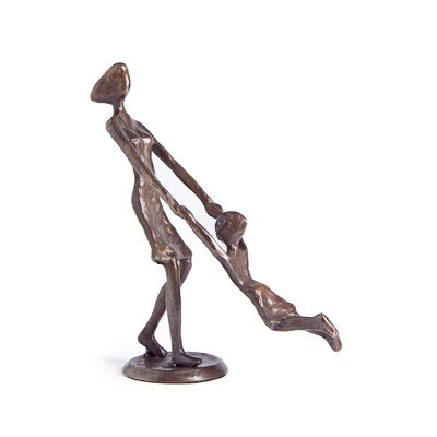 - DanyaB Mother Playing And Swinging Child Cast Bronze Sculpture Figurine Sculpture