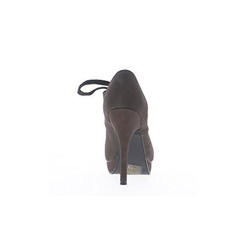 Bottines femme marrons à talon de 12cm et plateforme de 2cm