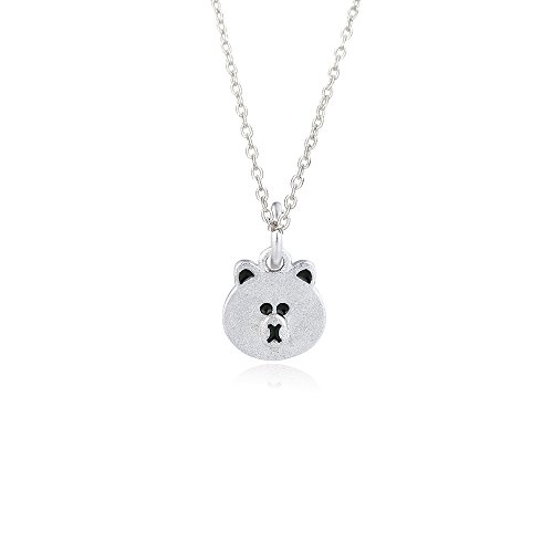 Bear Face Pendant - Cute Bear Face Pendant Animal Lover Necklace for Girl and Teens