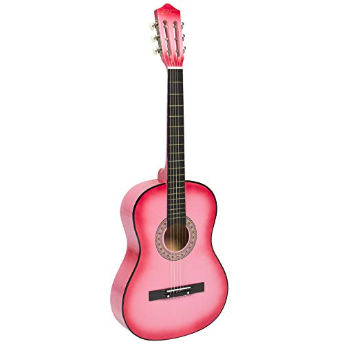 Large Product Image of Best Choice Products SKY587 Beginners 38'' Acoustic Guitar with Case, Strap, Digital E-Tuner, and Pick, (Pink)