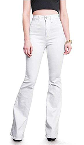 Flared Jeans Cut Pants - Women's Regular Slim Fit Denim Solid Color High Rise Flared Bootcut Jeans White