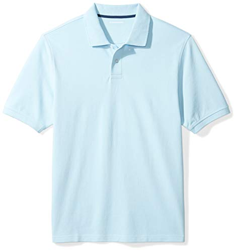 Amazon Essentials Men's Regular-Fit Cotton Pique Polo Shirt, Light Blue, Large ()