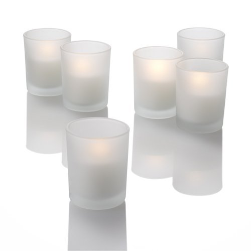 Set of 72 White Richland Votive Candles and 72 Frosted Votive Holders