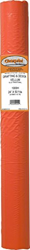 Clearprint 1000H Design Vellum Roll, 16 lb., 100% Cotton, 24 Inches W x 50 Yards Long, Translucent White, 1 Each (10101131)