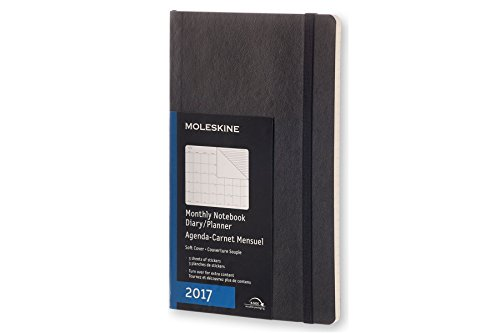 Moleskine 2017 Monthly Notebook, 12M, Large, Black, Soft Cover (5 x 8.25)
