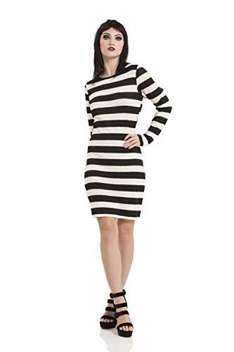 blanco Dress Xl Striped Jawbreaker Negro Sweater Vestido CwnaxZgqX