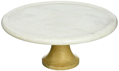 "Creative Home Genuine White Marble & Mango Wood Footed Cake Stand, 12"", White"