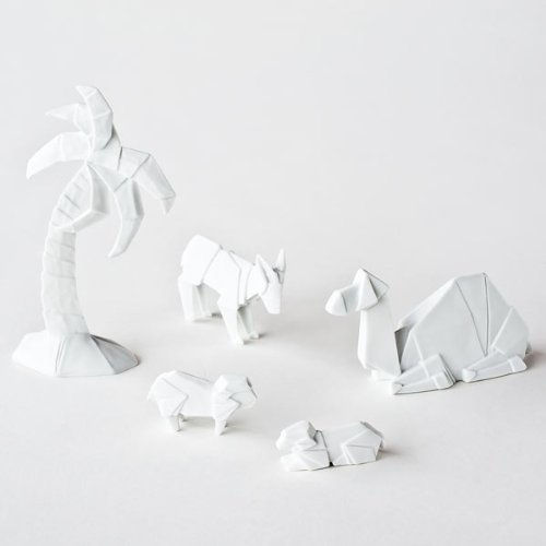 One Hundred 80 Degrees Porcelain Origami Nativity Animals, St/5, Porcelain, 6.25