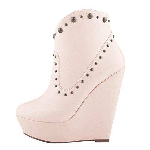 Donna Albicocca Stivaletti PU Stivaletti Moda Zeppa da Alta Autunno Corti Boots Moda WanYang Scarponcini B6dOwq6