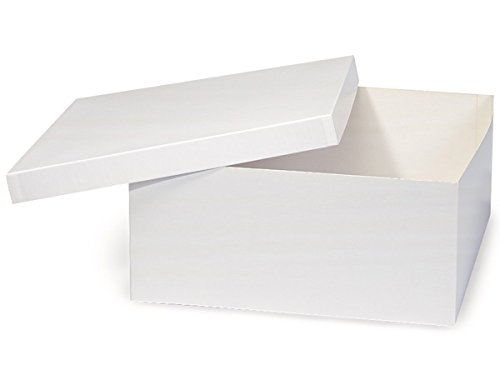 Pack of 50, White Gloss Hi-Wall 14 x 14 x 6'' 100% Recycled Giftware Box Base Use Food Safe Barrier Like Food Grade Tissue or Cello for Food Packaging(Lids Sold Separately) by Generic