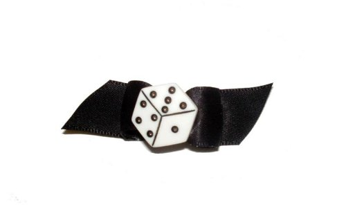 Dog Starched Show Bow Dice Barrette