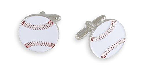 (Forge Baseball Enamel Cufflink + Lapel Pin + Tie Bar (Silver Cufflinks))