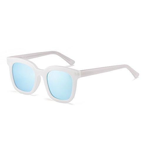 Azul Oversized Espejo Anteojos de Cuadrado Gafas Diseñador de Espejo Sol Blanco Tintado Mujer Plano yX71ARqFz