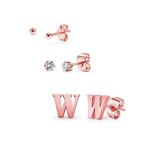 Set of 3 Stud Earrings - Ball, Alphabet Letter & Cubic Zirconia by I Jewel | 3 Polished Finishes with Free Gift Pouch Rose Gold Tone Letter W