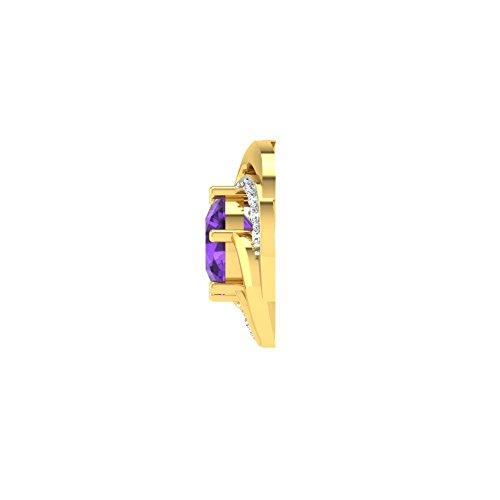 Libertini Boucle d'oreille argent 925 plaque or Jaune serti de Diamant et Améthyste en fArgentme de Rond