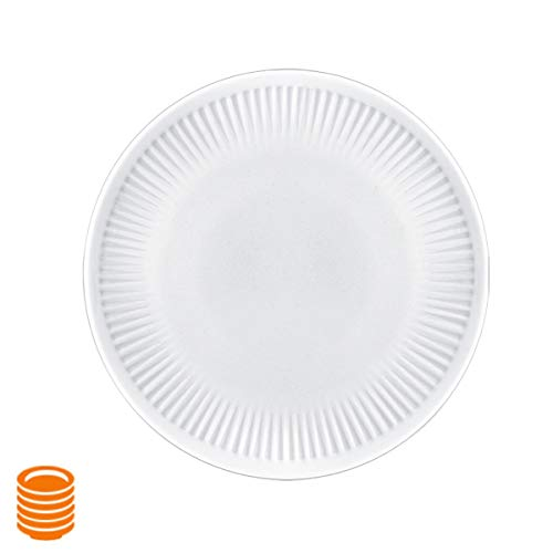 (Delling 6.5 inch Ceramic Cake/Dessert Plates, Study Appetizer Plates Set for Birthday Party, Wedding Dinner, Picnic Lunch, Holiday, Set of 6 - White)