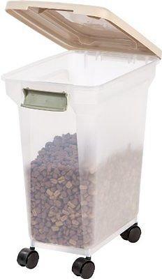 IRIS Premium Airtight Pet Food Storage Container, 28-Quart, Almond