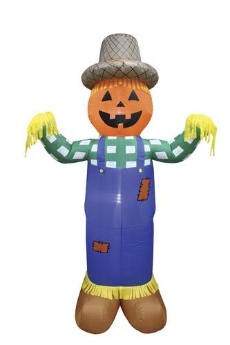 Pumpkin Hollow Inflatable Scarecrow Fall Halloween Decoration Lighted 7 Feet Tall ()