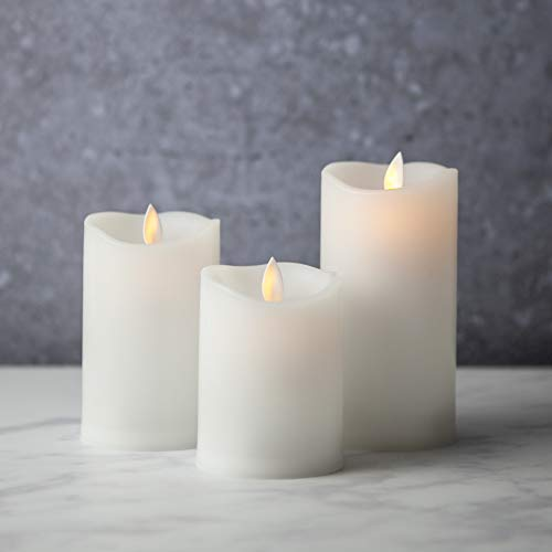 "Flameless-Candles-Led-Battery-Operated | with Remote Control Timer Flickering Flame White Indoor Outdoor Large Pillar Candle Lights - Set of 3 Unscented 4"" 5"" 6"" by Sandstone & Sage"