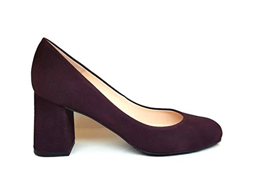 GENNIA Viva - Women´s Closed Toe Leather Pumps with Block Heel Leather Suede A-003(pantone 7449 U) olyzt07g6