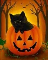 Halloween gato jardín bandera