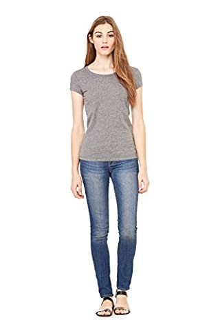Bella+Canvas Women's Combed Cap-Sleeve Sheer Jersey T-Shirt, M, Deep Heather - Womens Fitted Cap Sleeve Tee