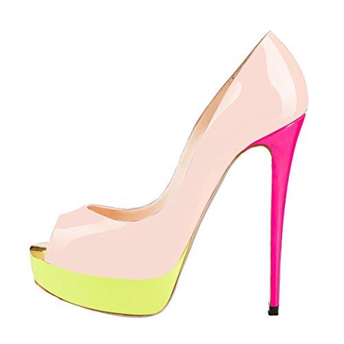 Pompes À Mariage Fête Des Onlymaker Peep Slip Extrême Les Chaussures Femmes Couture Aiguille Pour Orteil Main Haute Robe De Colorées 1 Sur La 8O8xqZ