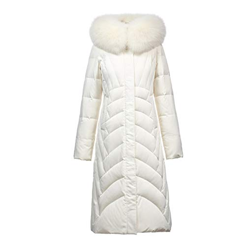 Hooded White Duck Down Mid-length Down Jacket With Fur Collar Down Garment Coat For Women