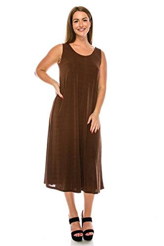 Jostar Women's Stretchy Tank Long Dress Sleeveless Plus 2XL Brown