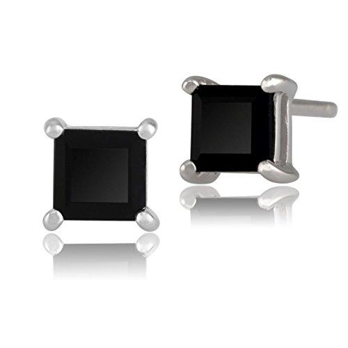Black Onyx 4 Claw Set Square Stud Earrings