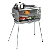 Standgrill silber Edelstahl XXL Positionsgrill 2-flammig Camping Balkon Picknick ✔ eckig ✔ stehend grillen ✔ Grillen mit Gas