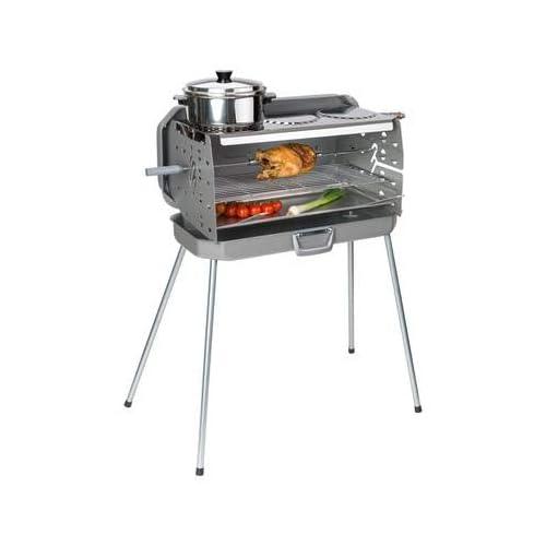Koffergrill 3-Flammen Gasgrill 50mbar 3 Kochstellen inkl Grillspieß mit 2 Fleischklammern Edelstahl
