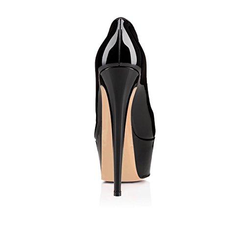 Chaussures elashe 15CM Talons Plateformes cm Escarpins Bout 5 Noir Compensée Talon Femmes Fermé Aiguille Rond Verni Semelle wC46qRw