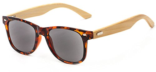 Readers.com The Rowan Recycled Bamboo Sun Reader +2.00 Tortoise with Smoke Bamboo Eyeglass Frames Eco Reading Sunglasses Retro Square Reading - Eyeglass Eco Frames