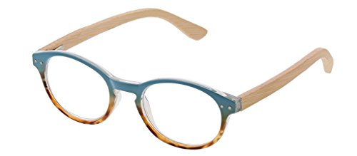 Peepers Women's Galleria - Blue/Wood 2432200 Round Reading Glasses, Blue&Wood, ()