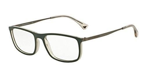 Emporio Armani Montures de lunettes 3070 Pour Homme Matte Black / Grey Transparent 5470: Matte Green / Grey Transparent
