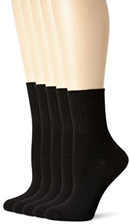 Hanes womens Comfort Collection Cuff Socks 5-Pack(857/5)-Black-9-11