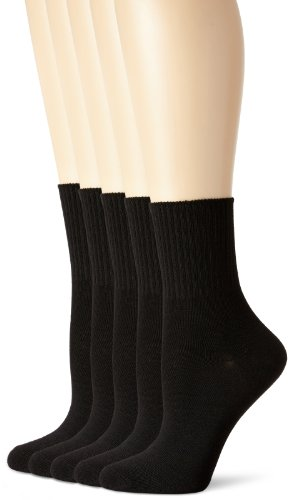 Hanes Women's Big-Tall 5 Pack Comfort Collection Value Pack Cuff Extended Size Sock, Black,Extended 10-12/Shoe 8-12