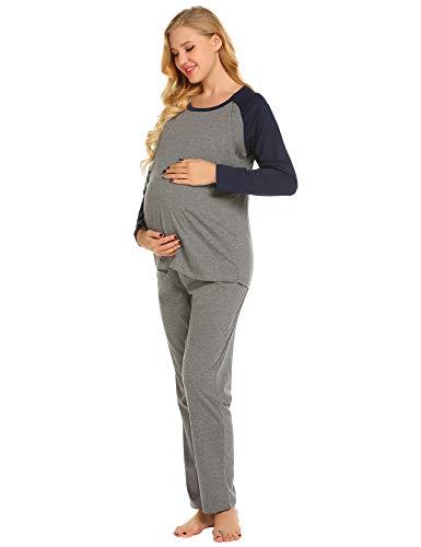 Ekouaer Women's Maternity Pajama Sets Long Sleeves Thermal Underwear Striped Pregnant Sleepwear S-XXL