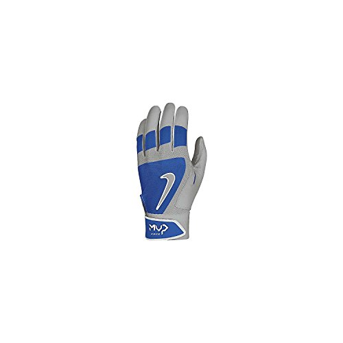 Nike MVP Edge Adult Batting Gloves (410 Game Royal/Grey/White, XL)