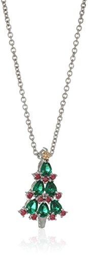 Platinum Plated Swarovski Christmas Tree Pendant Necklace set with Round Cut Red and Green Swarovski Zirconia (.45 cttw), 16