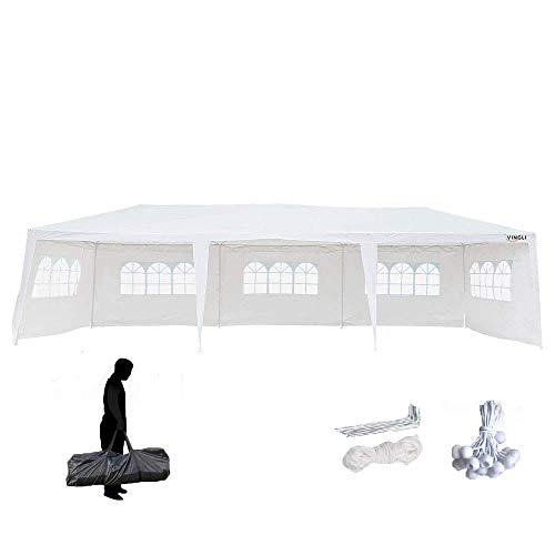VINGLI 10'x 30' Outdoor Canopy Tent w/ 5pcs Removable Sidewalls,Upgraded Thicker Tube Top Frame,Waterproof Sun Shade UV Protection Perfect for Party Wedding Catering Gazebo Garden Beach Camping Patio ()